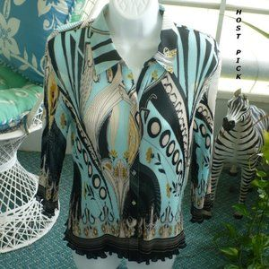 ❤️ Nicola Sheer Accordion Blouse Medium Top